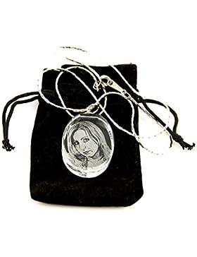 Kettenanhänger-oval aus Glas mit Ihrer persönlichen Foto-Gravur, inkl. Kette 22 x 28 x 8 mm