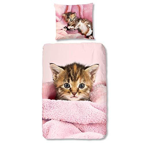 Aminata Kids Katze Bettwäsche 135 x 200 cm + 80 x 80 cm aus Baumwolle mit Reißverschluss, unsere Kinderbettwäsche mit Katzen-Motiv ist weich und kuschelig