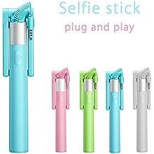 Selfie Stick, enlazador® en forma de U de una pieza batería libre Selfie Stick Extendable Control de Cable (no batería no Bluetooth) autorretrato Monopod Polo con Titular de montaje para Apple Iphone 6/6Plus/5/4, iPod, Samsung Galaxy S6/S5/S4/S3, Nota 4/3/2y más otros smartphones