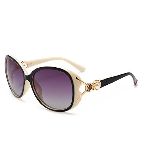 JUNHONGZHANG Polarisierte Sonnenbrille Perle Fuß Brille Weibliche Mode Brille Dekorative Metall Sonnenbrille, Weiß Gerahmte Doppel Asche
