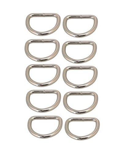 AKORD D-Ringe für Wickeltasche oder Handtasche Griffe, silberfarben, 30mm, 10Stück