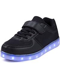 SAGUARO® Unisex niños USB Carga LED Luz Luminosas Flash Zapatos Zapatillas de Deporte,Negro 26