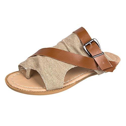 Pinke Trend Frauen Hausschuhe Strand Schuhe - Mode Flip Flip Flach Strand Schuhe Offene Sandalen Badeschuhe Freizeitschuhe Khaki 37