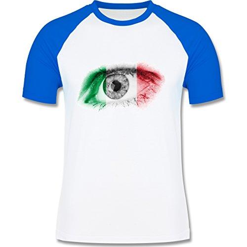 EM 2016 - Frankreich - Auge Bodypaint Italien - zweifarbiges Baseballshirt für Männer Weiß/Royalblau