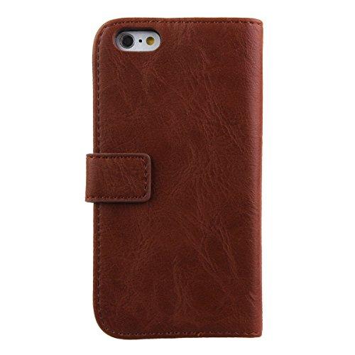 Etche Housse de protection pour iPhone 6 Plus/6S Plus 5.5 pouces,Housse en cuir PU pour iPhone 6 Plus/6S Plus,couvercle de poche de portefeuille pour iPhone 6 Plus/6S Plus,Retro Vintage classique Hous marron