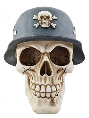 Aufnäher // Bügelbild Totenkopf mit Stahlhelm Army weiß 11.2 x 8.5 cm