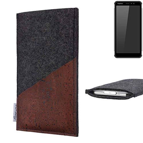 flat.design Handy Hülle Evora für Ruggear RG850 handgefertigte Handytasche Kork Filz Tasche Case fair dunkelgrau