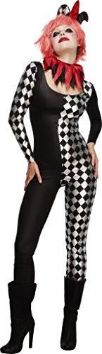 (Smiffys Fever Kollektion Harlequin-Hofnarr Kostüm Schwarz mit Catsuit Halskragen und Mütze, Medium)