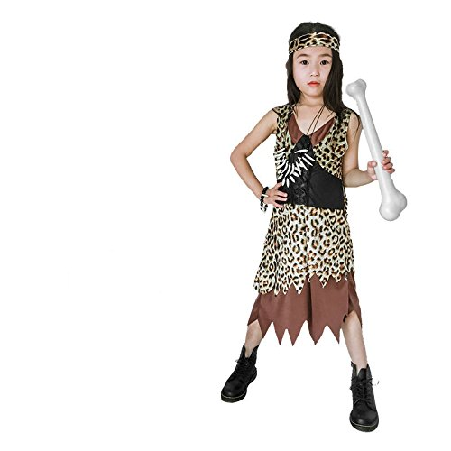Driverder Kinder Savage Primitive Dance Kostüm Dress up Kostüm Set (Weibliche Savage, M)