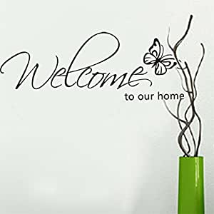 SYT sticker muraux Proverbes anglais (WELCOME TO OUR HOME) Pour Chambre Salon