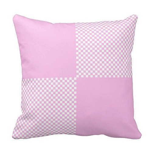 ZKHTO Light Pink and White Plaids with Blocks Pillow Decorative Throw Pillow Case Cushion Cover with Pattern Two Sides by Poppy-Love,Cover Size:18 x 18 Inch(45cm x 45cm)