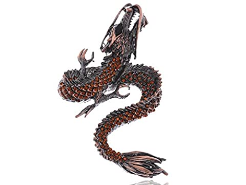 Alilang Womens Gunmetal Tone Topaz Colored Rhinestones Antique Dragon Brooch Pin