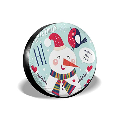 ErwangGo Tire Cover Wheel Covers,Cheerful Merry Xmas Illustration with A Bird and Snowman Fun Winter Celebration,for SUV Truck Camper Travel Trailer Accessories(14,15,16,17 Inch) 14 Merry Mushroom
