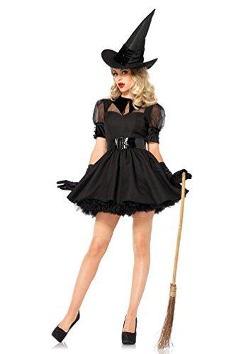 ,Karneval Klamotten' Kostüm Hexe kurz schwarz Damen Hexenkostüm Deluxe Karneval Halloween Damenkostüm inkl. Hexenhut Größe 38/40 (Sexy Zauberin Hexe Kostüme)