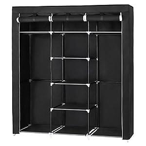 SONGMICS Groß XXL Kleiderschrank Faltschrank Wäscheschrank mit 2 Hakenstange 175 x 150 x 45 cm DREI hochrollbare Türen (Schwarz) RYG12B, Canvas,