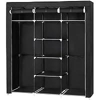 SONGMICS Armario Closet organizador Textil Plegable Color Negro 175 x 150 x 45 cm RYG12B