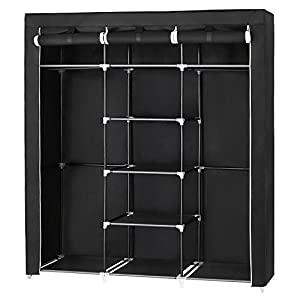 armario: SONGMICS Armario Closet organizador Textil Plegable Color Negro 175 x 150 x 45 c...