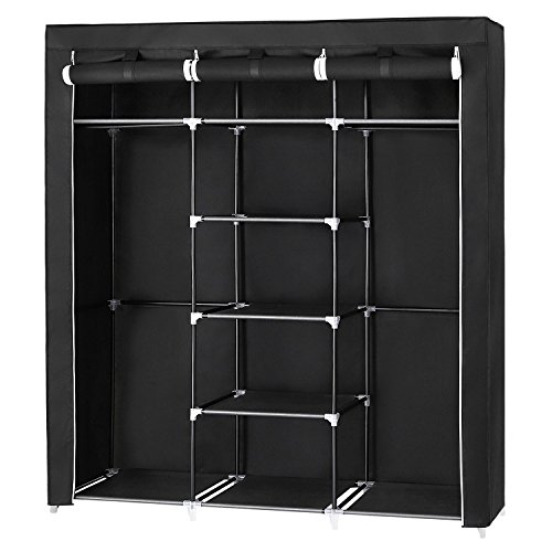 SONGMICS Armario Closet organizador Textil Plegable Color Negro 175 x 150 x...