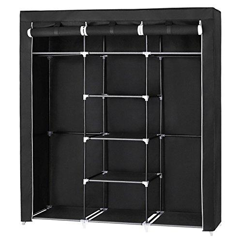 SONGMICS großer Kleiderschrank, Stoffschrank XXL, Faltschrank mit 2 Kleiderstange, 175 x 150 x 45 cm, mit drei hochrollbaren Türen, schwarz RYG12B - Kunststoff-abdeckung Mit Schrank