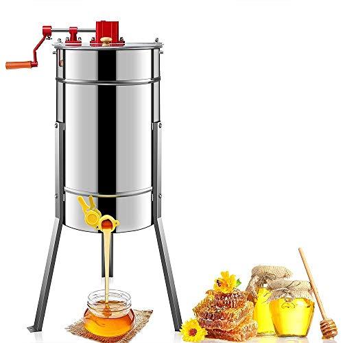 TUDIO Honigschleuder Manuell 3-Waben Lebensmittelechter Edelstahl Manuell Honig-Extraktor für Bienenzucht Bee Einklang mit Cover