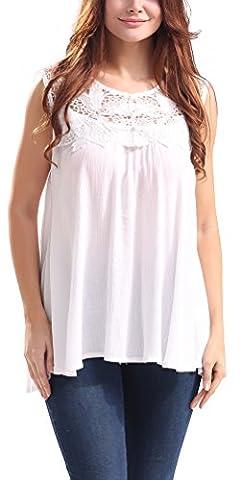 SunIfSnow - T-Shirt - Body chemise - Uni - Sans Manche - Femme - blanc - Medium