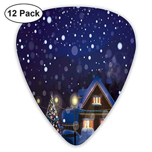 Guitar Picks - Abstract Art Colorful Designs,Winter Night Country Landscape With Little House Among Pine Trees And Snow,Unique Guitar Gift,For Bass Electric & Acoustic Guitars-12 Pack -