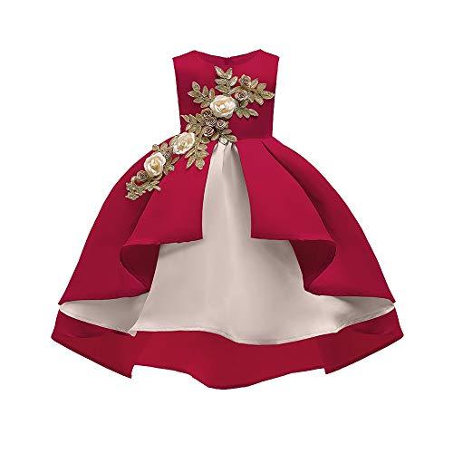 Rezept Kostüm Kontakte Mit - Livoral Mädchen Schönheit Kleid Blume Baby Prinzessin Brautjungfer Kleid Geburtstagsfeier Hochzeitskleid(Rot,150)