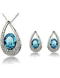 Wonvin Mujer Cubic Zirconia Cristal Joyería Set Pendiente Collar Pendientes Color Azul para las mujeres