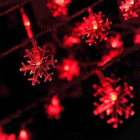NNIUK 40 LED fiocchi di neve Fata della luce della stringa a pile di luci per l'albero di Natale illumina giardini domestici nozze - Guardare La Finestra Sul Cortile