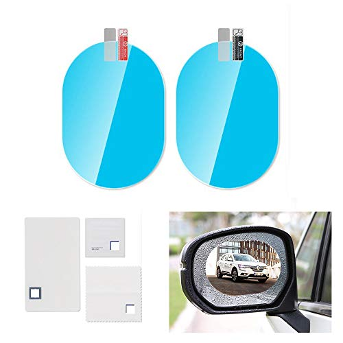 CONRAL 1 Paar Auto-Rückspiegelfolie, HD-Antibeschlag-Regenschutz-Blendschutz-Fahrerschutz-Rückspiegel-Fenster-Klar-Aufkleber wasserdichte Schutzfolien