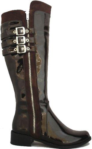 Noir & Marron brillant brevet Classy genou haute Bottes Noir - noir