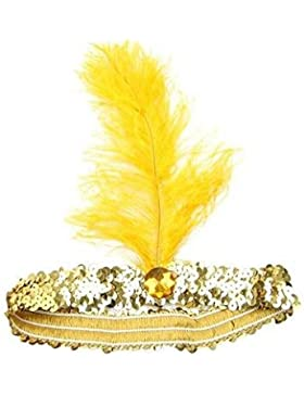 Paillettes Show Girl party flapper fascia copricapo con piuma Plume Yellow