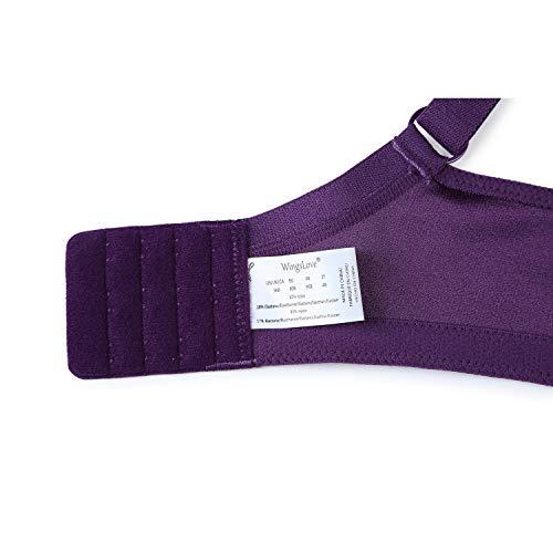 Wingslove Damen Vollschalen BH Ungepolstert Komfort Minimizer BH Bügellos BH Große Größe(Lila 48H) - 6