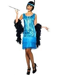 erdbeerloft - erdbeerloft - Damen 20's Charlston Fransen Pailetten Kostüm Set Kostüm Set- Blau Hellblau, 36-50