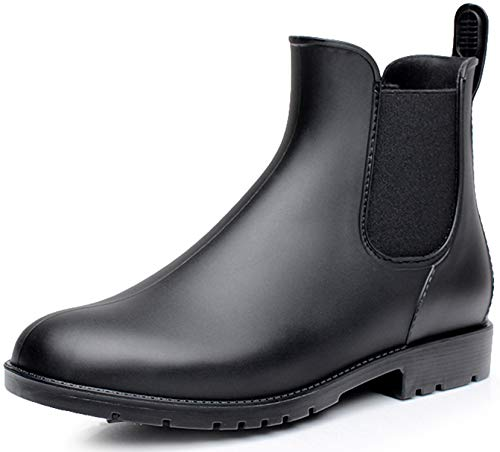 Nzcm Gummistiefel Damen Kurzschaft Regenstiefel Herren Wasserdicht Lack Regen Schuhe Ankle Chelsea Boots Gummi Stiefeletten mit Blockabsatz Schwarz Gr.41