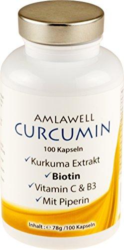 Kurkuma Kapseln/Curcuma Extrakt mit 95% Curcumin/plus Piperin, Vitamin C, Vitamine B3 und B7 (1)