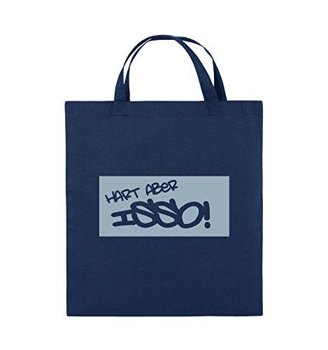 Comedy Bags - HART ABER ISSO! - Jutebeutel - kurze Henkel - 38x42cm - Farbe: Schwarz / Pink Navy / Eisblau