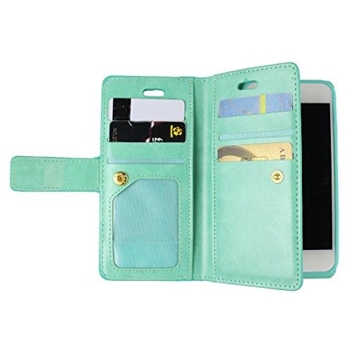 iPhone 7 Leder Geldbörse Wallet Reißverschluss Karte Schutzhülle, Schutzhülle iPhone 7, iPhone 7 Bumper Hülle, Moon mood® Ledertasche für Apple iPhone 7 (4.7 Zoll) PU Leder Zipper Geldbörse Handy Hols Minze grün