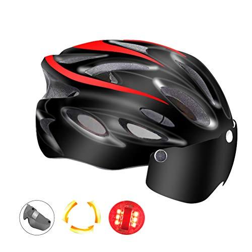 Kikier Goggles Mountainbike-Helm mit Licht, Fahrradhelm für Damen und Herren, SO0149023_RD-1254-1157135041, rot, 54-62cm
