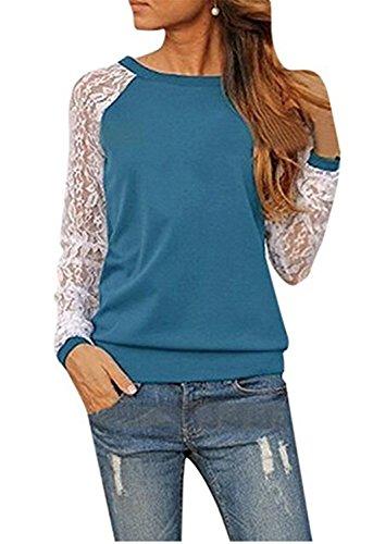 SHUNLIU Damen Langarm Lace Bluse T-Shirts Tunika Hemd Tops Blau