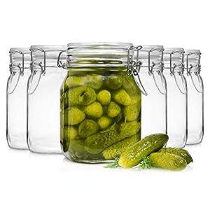 Bormioli Fido Gläser mit Bügelverschluss 6 teilig | Füllmenge 1 L | Luftdichte Konservierung durch den Gummiring sowie den Drahtbügelverschluss