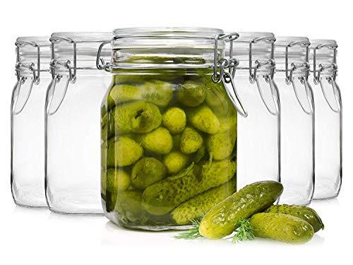 Bormioli Fido Gläser mit Bügelverschluss 6 teilig | Füllmenge 1 L | Luftdichte Konservierung durch den Gummiring sowie den Drahtbügelverschluss - Alter Kaviar