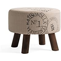 Preisvergleich für YYdy-Polsterhocker Mehrzweck Kleine Hocker für Wohnzimmer Leinen Tuch Massivholz Hocker Bein Einfache Mode Stil Durchmesser 45 cm (18 in), höhe 35 cm (14 in)