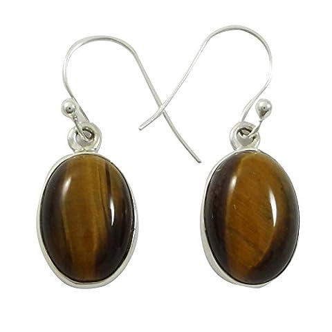 925 Sterling Silver Earrings Tiger Eye Stone Dangle Earring Fashion Jewellery Gift For Her
