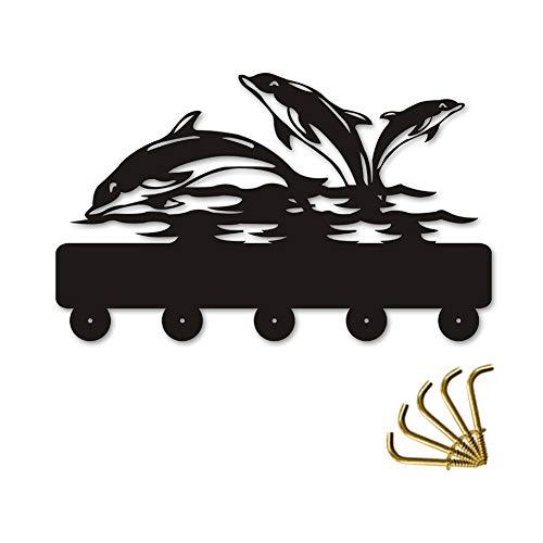 ANMY Netter Delphin-hölzerner Aufhänger-einzigartiges Geschenk-Kleidungs-Hut-Schlüsselhaken- / Garderobenständer- / Wand-Haken-Ausgangsdekoration-Wand-Aufkleber-Küchen-Badezimmer-Tuch-Haken, schwarz