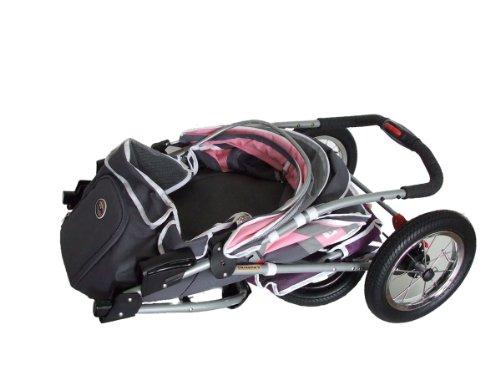 Haustier-Buggy, ips-040, grau/pink/lila, Hunde-Tragetasche, Trolley, Trailer, InnoPet®, Buggy Komfort mit airfilled Reifen. Zusammenklappbar Pet Buggy, Kinderwagen, Kinderwagen für Hunde und Katzen - 3
