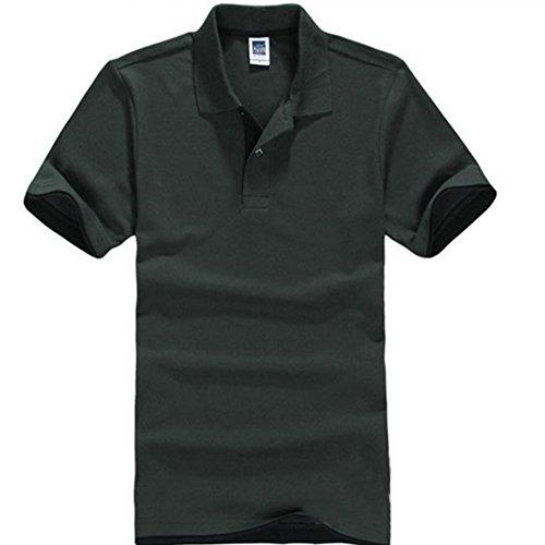 Vertvie Herren Poloshirt Basic kurzarm Funktionspolo Hemd in verschiedene Farben Schwarzgrün&Schwarz