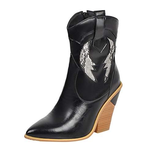 Serria® Outdoor Wandern Womens Spitz Keile Square Heels Schuhe Western Knight Stiefel -