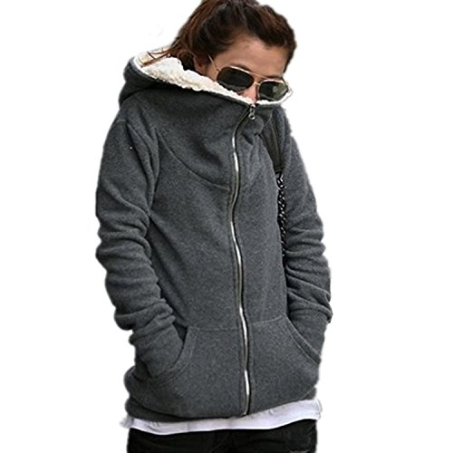 Minetom Femmes Hoodie Manteau Sweat Vêtements Survêtement Tops Automne Dames Manteau Hiver Sweat Shirt ( Gris FR 40 )