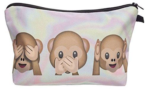 Kukubird Divertimento Nuovo Animale Foto Modello Stampa Make-up Bag Con Sacchetto Di Polvere Di Kukubird 3 Monkeys